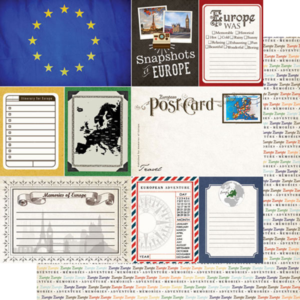 Europe Journal 12x12 Double Sided Scrapbooking Paper