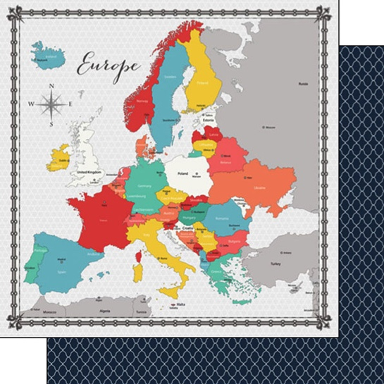 Europe Memories Map 12x12 Double Sided Scrapbooking Paper
