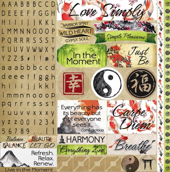 Everything Zen 12x12 Cardstock Scrapbooking Stickers, Borders and Alphabet