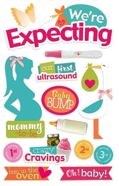 Expecting 3D Glitter Scrapbooking Stickers