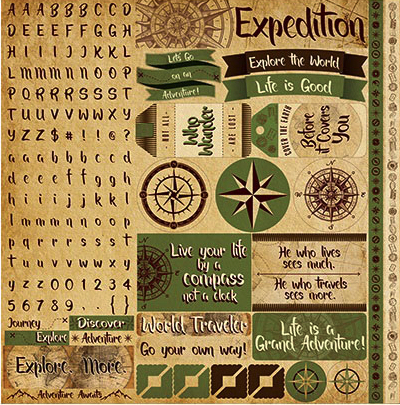 Expedition 12x12 Cardstock Scrapbooking Stickers, Borders and Alphabet