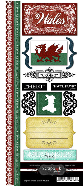 Explore Wales Scrapbooking Stickers and Borders