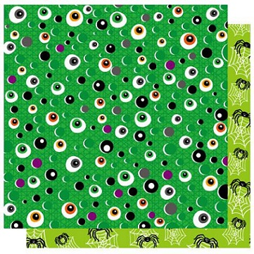 Trick or Treat Eyeball 12x12 Double Sided Gitter Cardstock