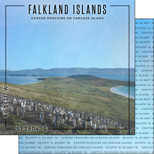 Falkland Islands 12x12 Double Sided Scrapbooking Paper