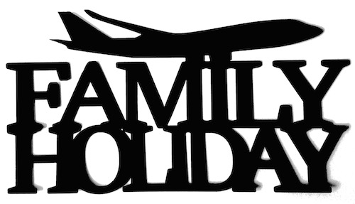 Family Holiday Scrapbooking Laser Cut Title with Plane