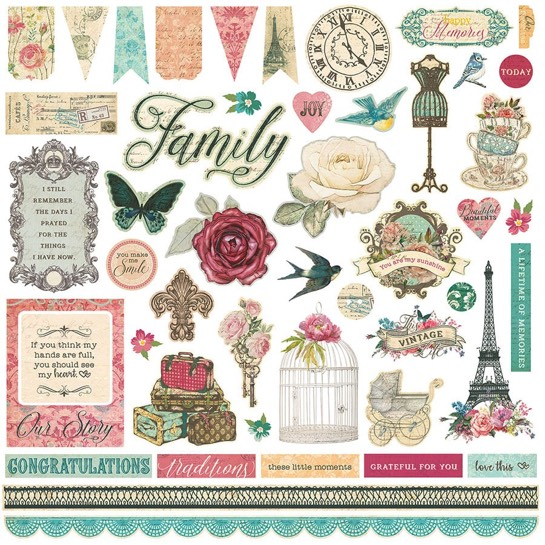 Moments in Time 12x12 Cardstock Scrapbooking Stickers and Borders