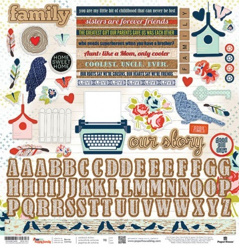 Family 12x12 Cardstock Scrapbooking Stickers