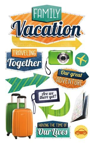 Family Vacation 3D Glitter Scrapbooking Stickers