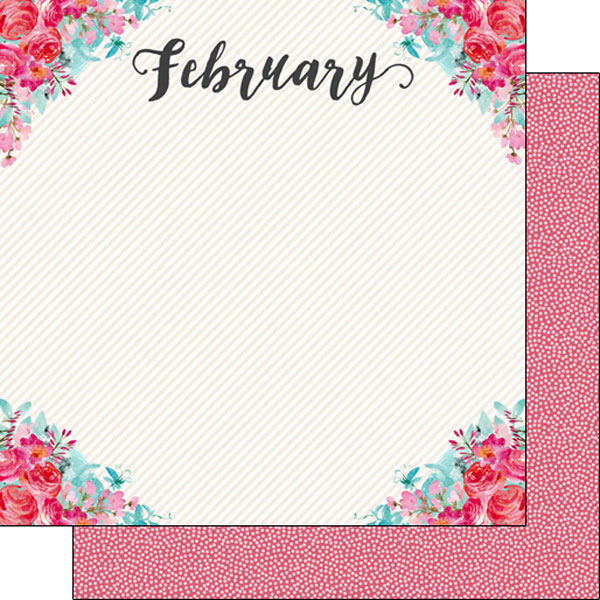 February 12x12 Double Sided Scrapbooking Paper