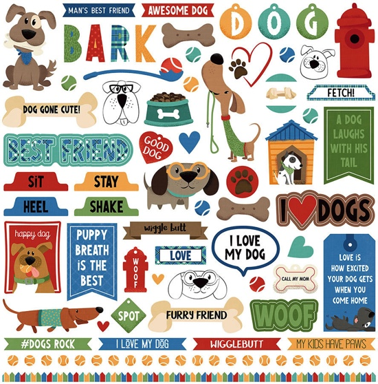 Fetch 12x12 Cardstock Scrapbooking Stickers and Borders