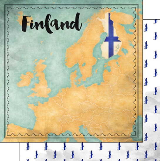 Finland Sights Map 12x12 Double Sided Scrapbooking Paper