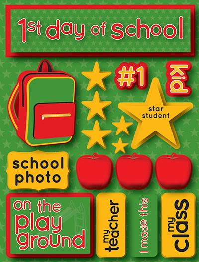 First Day of School 3D Scrapbooking Stickers