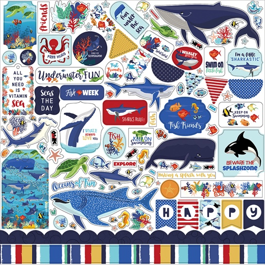 Fish Are Friends 12x12 Cardstock Scrapbooking Stickers