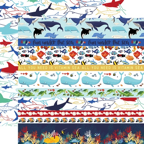 Fish are Friends Border Double Sided 12x12 Scrapbooking Paper