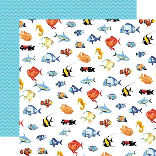 Fish March Double Sided 12x12 Scrapbooking Paper