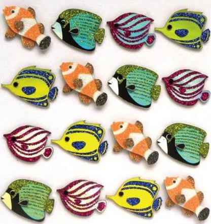 Fish Glittered Jolees 3D Scrapbooking Stickers