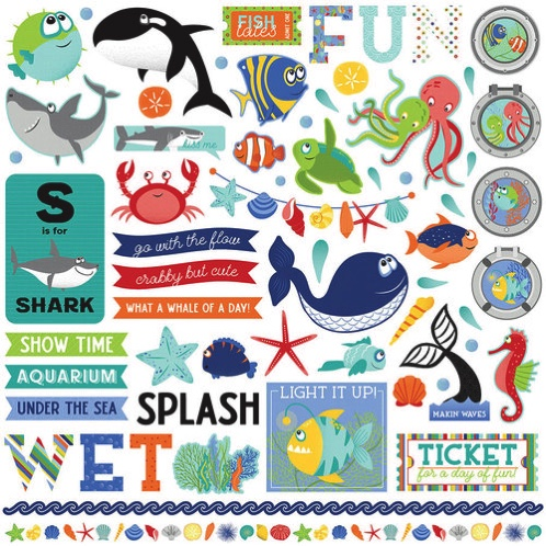 Fish Tales 12x12 Cardstock Scrapbooking Stickers