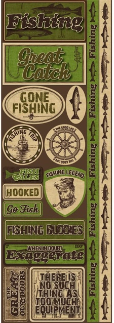 Fishing Cardstock Scrapbooking Stickers and Borders