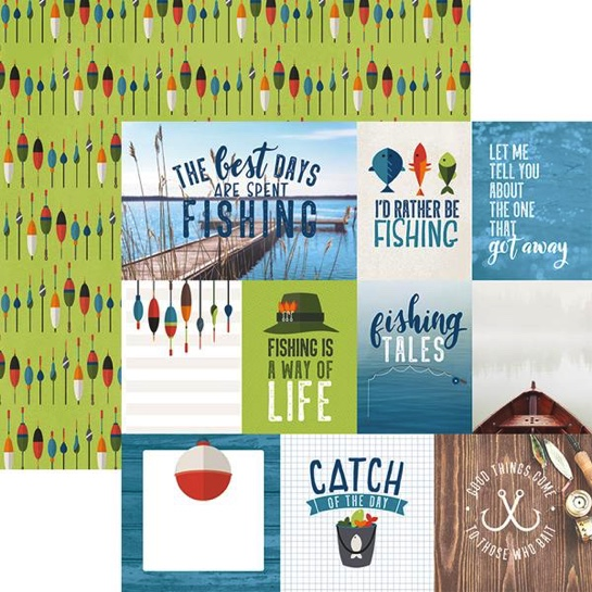 Fishing Tags 12x12 Double Sided Scrapbooking Paper