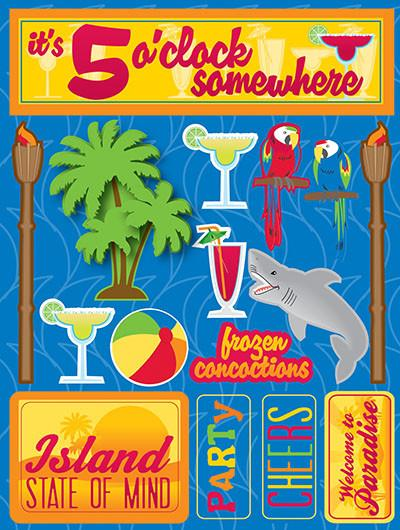 It's 5 O'clock Somewhere 3D Scrapbooking Stickers