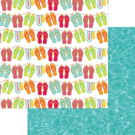 Flip Flops 12x12 Double Sided Scrapbooking Paper