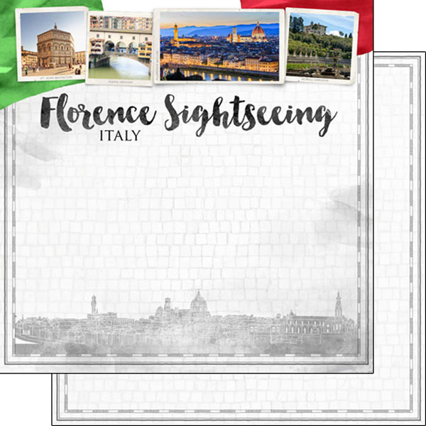 Florence Sightseeing 12x12 Double Sided Scrapbooking Paper