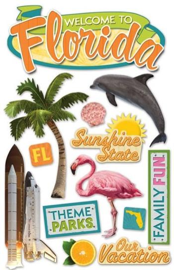 Florida 3D Glitter Scrapbooking Stickers