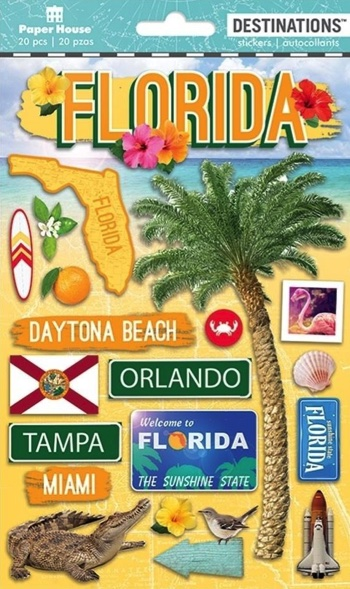 Florida 3D Destinations Scrapbooking Stickers