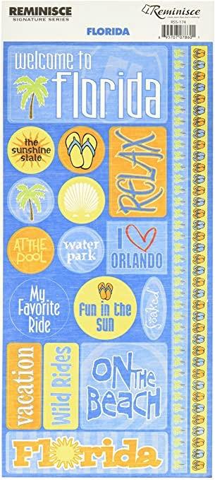 Florida Phrase Cardstock Scrapbooking Stickers