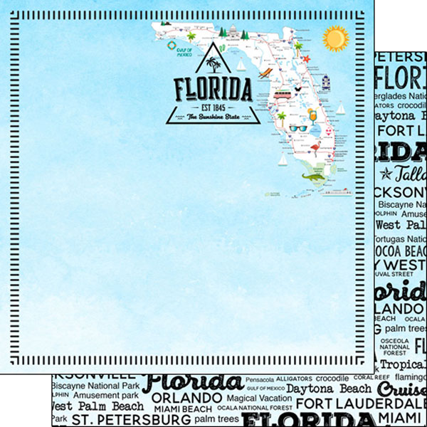 Florida Postage Map 12x12 Double Sided Scrapbooking Paper