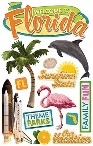 Florida 3D Glitter Scrapbooking Stickers