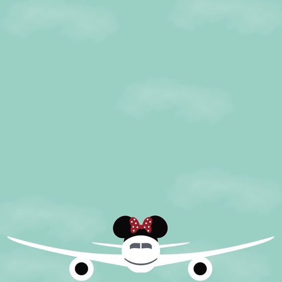 Minnie Flying Off to Disney 12x12 Scrapbooking Paper