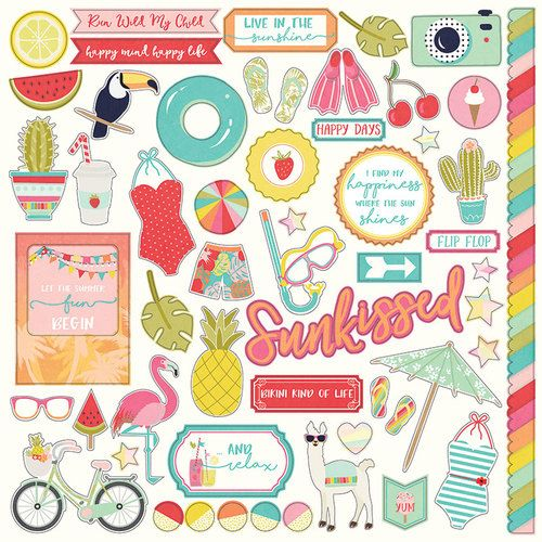 For the Love of Summer 12x12 Cardstock Scrapbooking Stickers