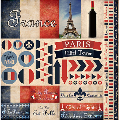 France 12x12 Cardstock Scrapbooking Stickers and Borders