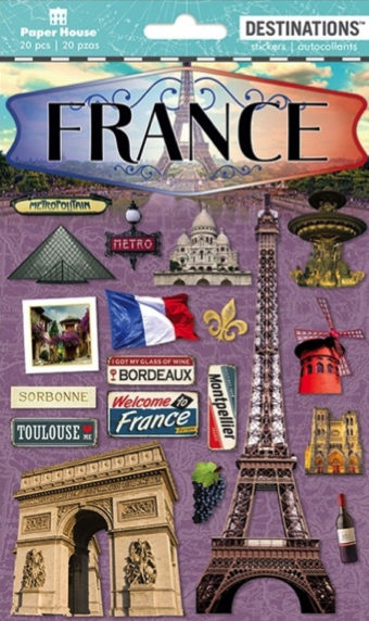 France 3D Destinations Scrapbooking Stickers