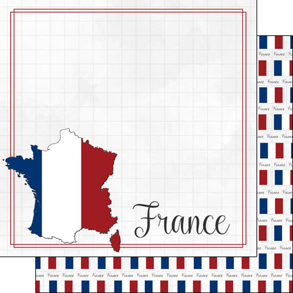 France 12x12 Double Sided Scrapbooking Paper