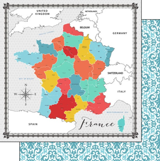 France Memories Map 12x12 Double Sided Scrapbooking Paper