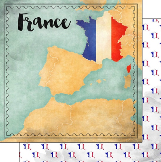 France Sights Map 12x12 Double Sided Scrapbooking Paper