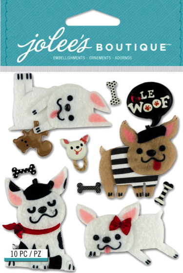 French Bulldogs Jolees 3D Scrapbooking Stickers