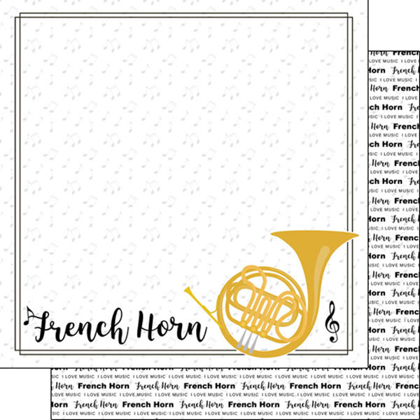 French Horn 12x12 Double Sided Scrapbooking Paper