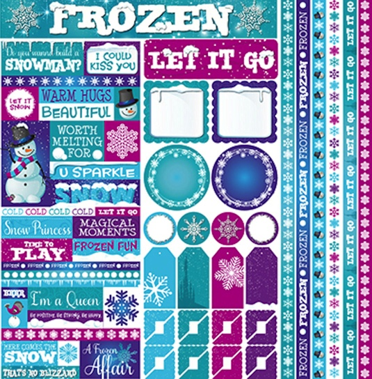 Frosted 12x12 Cardstock Scrapbooking Stickers and Borders