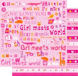 Girl Meets World 12x12 Double Sided Glittered Scrapbooking Cardstock