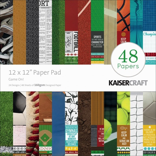 Game On Sports 12x12 Scrapbooking Pad - 48 sheets