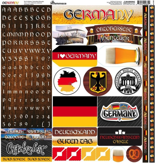 Germany 12x12 Cardstock Scrapbooking Stickers Borders and Alphabet