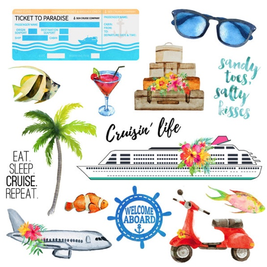 Getaway Cruise Cut Out 12x12 Scrapbooking Paper
