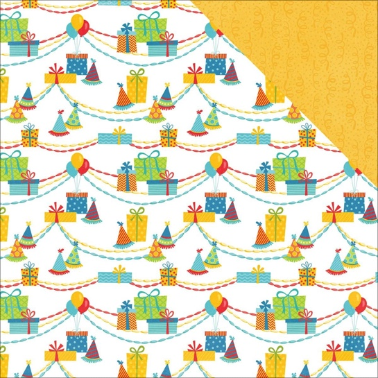 Gift Hats Double Sided 12x12 Scrapbooking Paper