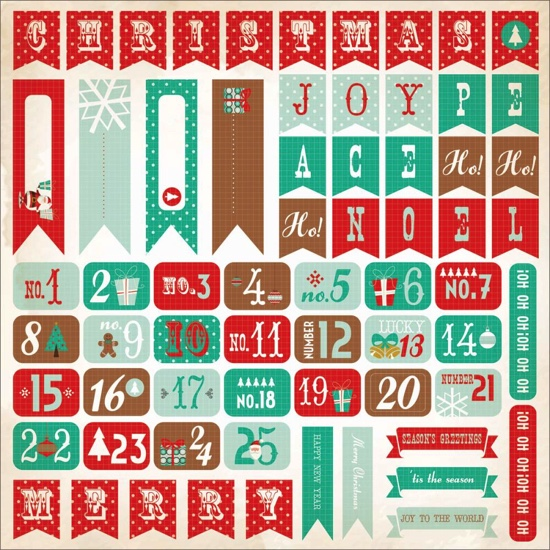 Gingerbread Christmas Numbers 12x12 Cardstock Scrapbooking Stickers