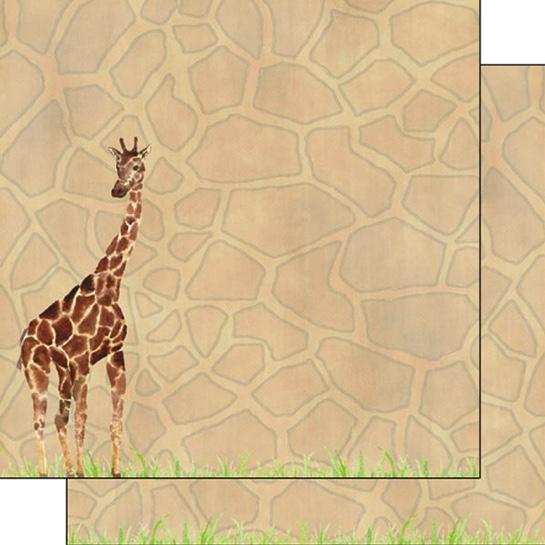 Giraffe Safari 12x12 Double Sided Scrapbooking Paper