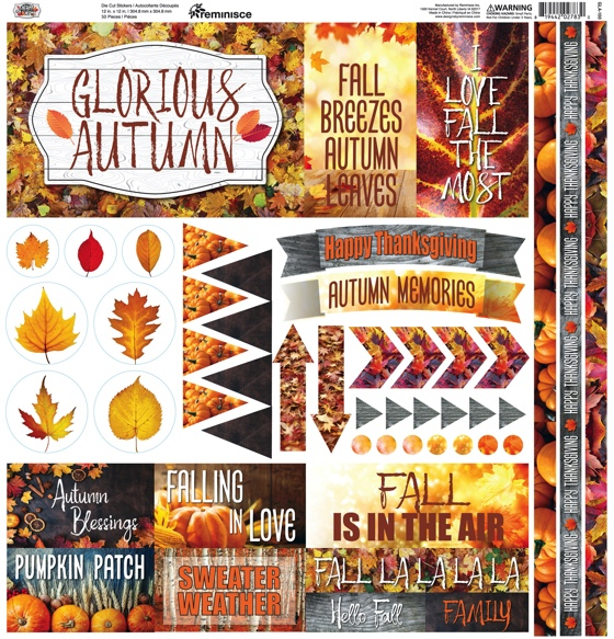 Glorious Autumn 12x12 Cardstock Scrapbooking Stickers and Borders