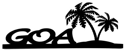Goa Scrapbooking Laser Cut Title with Two Palm Trees